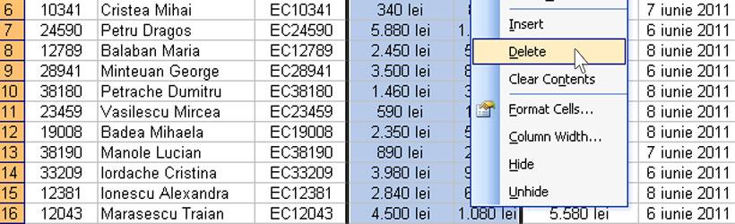 Cum să ștergi o coloană dintr-un tabel Excel